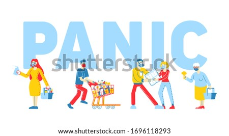 Panic in Supermarket Concept. People Buying Up all Goods in Store, Fighting for Toilet Paper, Male and Female Characters Prepare for Doomsday, Covid-19 Poster Banner Flyer Linear Vector Illustration