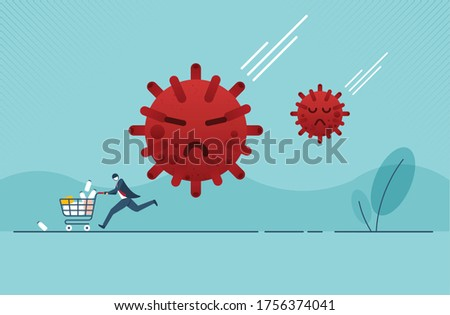 Panic man running in fear with full of consumer goods product, medicine in shopping cart because Coronavirus or COVID-19 outbreak crisis.  Vector illustration design.