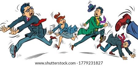 panic people are running. Comics caricature pop art retro illustration drawing