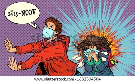 Panic. The young man is afraid of a sneezing sick girl. Novel Wuhan coronavirus 2019-nCoV epidemic outbreak. Pop art retro vector illustration 50s 60s style