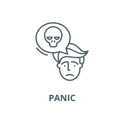 Panic vector line icon, linear concept, outline sign, symbol