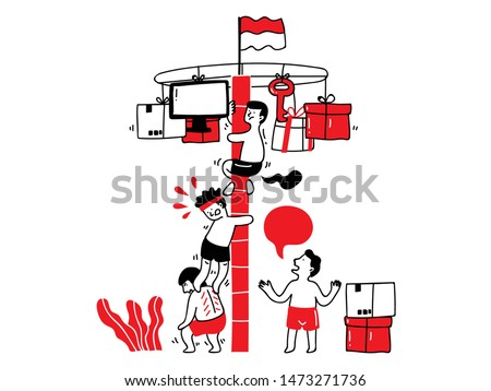 Panjat pinang or climbing a bamboo pole doodle. Indonesian independence day doodle. People enjoying Indonesian independence day with having a traditional competition.