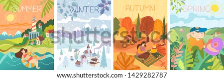 Panorama banner with country scenes of the four seasons with a woman swimming in summer, winter landscape with skier, mother and son enjoying a picnic in autumn and boy in a field of flowers in spring