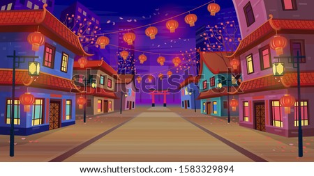 panorama chinese street with
