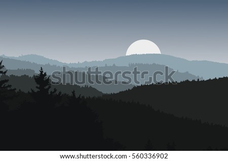 panorama landscape with dark
