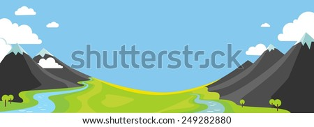 Panorama landscape with wountains, green valley and rivers in flat style