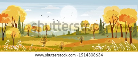 Panorama landscapes of Countryside in autumn,Panoramic of mid autumn with farm field, mountains, wild grass and leaves falling from trees in yellow foliage. Wonderland landscape in fall season