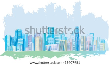 Panorama of abstract city.