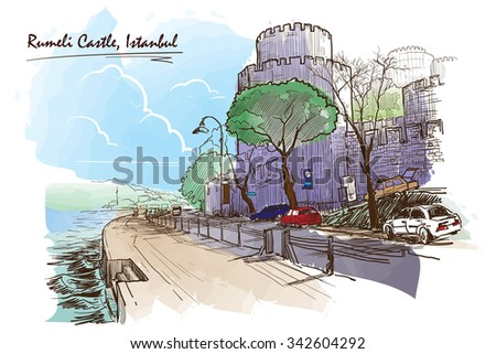 Panorama of Bosphorus strait seafront with Roumeli Hissar Castle. Painted sketch. EPS10 vector illustration.