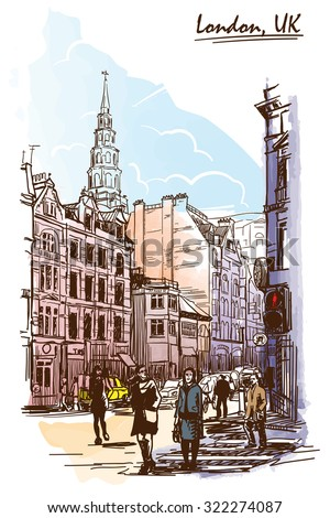 Panorama of busy Fleet street dominated by st. Bride's church Steeple. London, UK. Painted sketch imitating ink pen drawing above blurry watercolor. EPS10 vector illustration.
