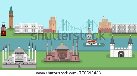 Panorama of Istanbul flat style vector illustration. Istanbul architecture. Cartoon Turkey symbols and objects