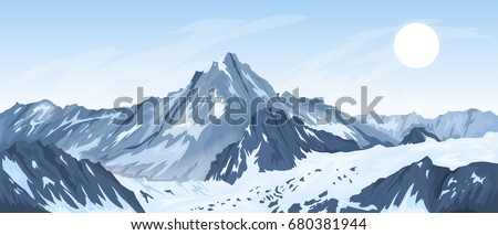 panorama of mountain peaks