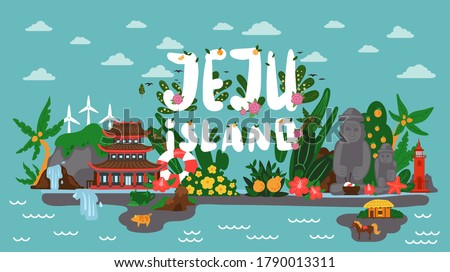 Panorama of picturesque korean island Jeju. Banner with image of the main attractions of the island. Tourist lions waterfalls, stone figures in Stone park, red lighthouse, temple and mountain hallasan