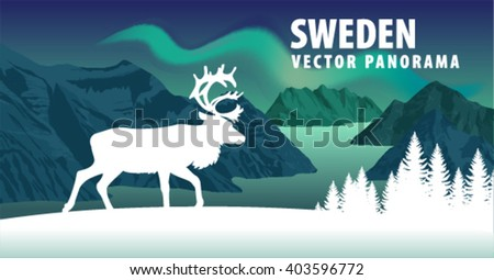 panorama of sweden fjord with