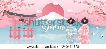 panorama of travel postcard
