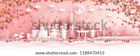 Panorama postcard of world famous landmarks of Japan in autumn season with falling maple leaves in paper cut style vector illustration