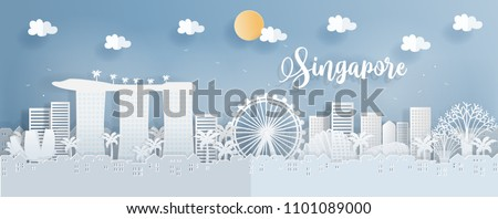 Panorama postcard of world famous landmarks of Singapore in paper cut style vector illustration - Shutterstock ID 1101089000