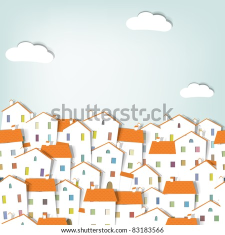 panorama town. seamless vector pattern - stock vector