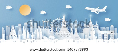 Panorama view of Bangkok, Thailand with temple and city skyline with world famous landmarks in paper cut style vector illustration