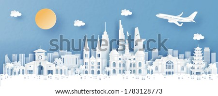 Panorama view of Ho Chi Minh City, Vietname with temple and city skyline with world famous landmarks in paper cut style vector illustration