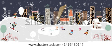 Panorama Winter landscape, Christmas and new year celebrated in the city,Vector of horizontal banner winter wonderland in the town with happy kids sledding and couple with skiing in the park