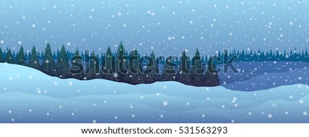 panorama winter landscape fir