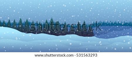 panorama winter landscape fir