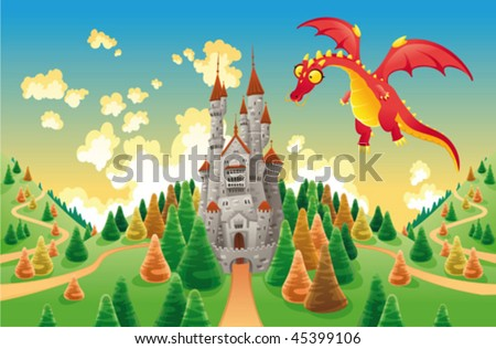 Panorama with medieval castle and dragon. Cartoon and vector illustration, isolated objects - stock vector