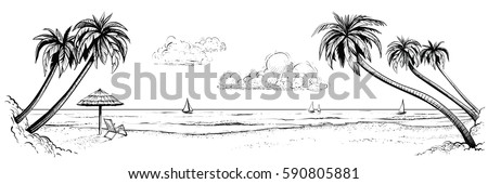 Panoramic beach view. Vector illustration of seaside promenade with palms, chaise longue, parasol and yachts. Black and white handmade drawing.
