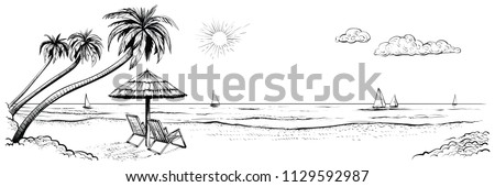 Panoramic beach view. Vector illustration of seaside promenade with palms, two chairs, umbrella and yachts. Black and white hand drawn sketch. - Shutterstock ID 1129592987
