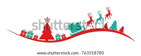 Panoramic Christmas banner with silhouette of christmas tree, Santa Claus and presents. Vector.  #763318780