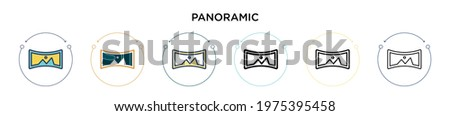 panoramic icon in filled  thin