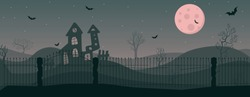 Panoramic image of abandoned house in an old park. bloody Full moon on the eve of All Saints Day. Concept and banner for halloween. scary night landscape