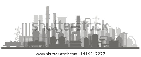 Panoramic industrial silhouette landscape. Stock vector illustration of an industrial zone with chemical factories, plants, train tanker in the flat style