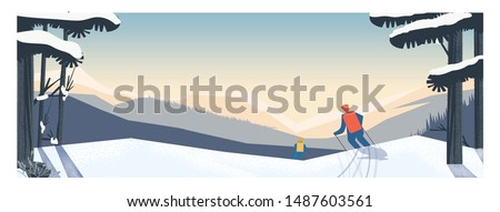 panoramic landscape of 2 skiers