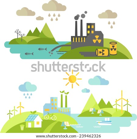 Panoramic landscape with ecology concept and concept pollution. Landscape with environmental contamination and nature ecology elements in flat style