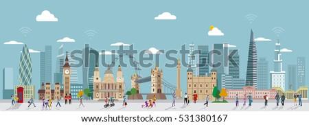 panoramic of london skyline and