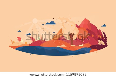 Panoramic of wild landscape in autumn. Background with autumn landscape mountains, house and trees with flying yellow foliage. Windy weather. Vector illustration.