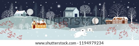Panoramic of winter landscape,Vector illustration of horizontal banner of winter wonderland at countryside with snow covering,house,moutain,trees and polar bear with snowing,Merry Christmas background
