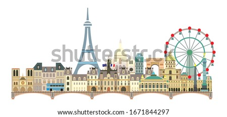 Panoramic Paris City Skyline. Colorful isolated vector illustration on white background. Vector illustration of main landmarks of Paris, France. Paris vector icon. Paris building outline.