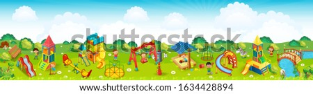 Panoramic playground on the meadow. Vector illustration.