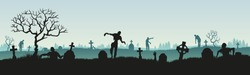 Panoramic silhouette of a zombie in a cemetery. Vector illustration for halloween. Stock vector illustration. eps 10 vector