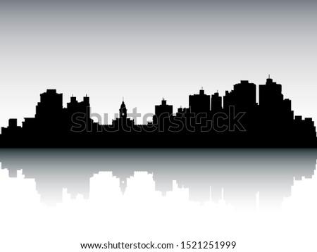 Panoramic Silhouette Skyline of Belo Horizonte Brazil