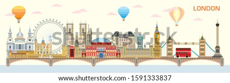 Panoramic vector colorful illustration of London landmarks. London city skyline vector isolated illustration. Vector colorful illustration of attractions of London, England.