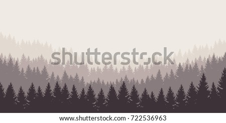 panoramic vector illustration of a forest under a overcast gray sky, layered
