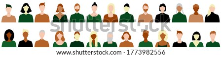 Panoramic vector illustration of hand drawn people. A multinational group of men and women. Busts of people in full face. top torso of people for banners, advertisements. Stock photo ©