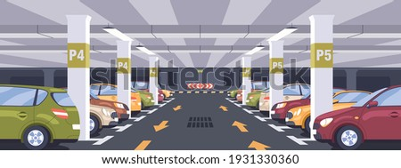 Panoramic view of urban underground car park full of parked autos. Basement garage interior with markings, signs, columns and reserved parking lots. Colored flat vector illustration Stockfoto ©