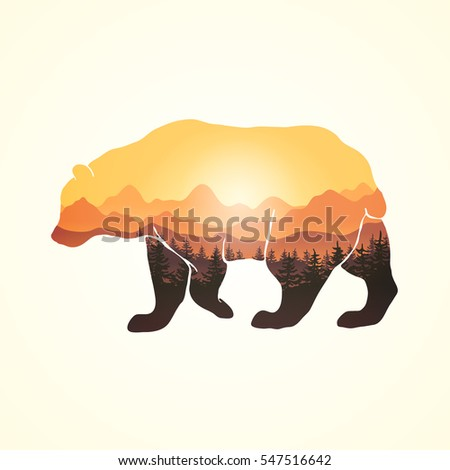 Panoramic view through hand drawn bear silhouette