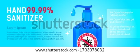 Panoramic web banner antibacterial gel, spray for the sanation of hands from bacteria, coronavirus, Covid 19. Hand sanitizer on a blue background  Stok fotoğraf ©
