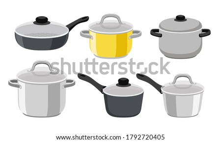 Pans pots and saucepans. Kitchen pan objects, cartoon kitchenware tools collection for cooking, vector illustration of elements for boiling and frying isolated on white background Stock foto ©